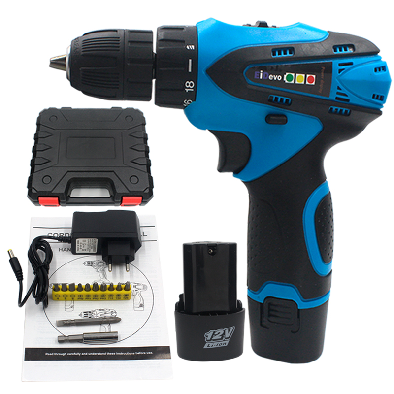 цена на EiDevo 12V Electric Cordless Drill 2pcs Lithium Battery Electric Cordless Screwdriver Hand Mini Drill plastic box Power tools