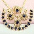 WPAITKYS Trendy Azul Criado Sapphire Banhado A Ouro Conjuntos de Jóias Para As Mulheres Brincos Colar de Pingente Anel Pulseira Caixa de Presente Livre