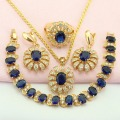 WPAITKYS Trendy Blue Created Sapphire Gold Plated Jewelry Sets For Women Earrings Necklace Pendant Ring Bracelet Free Gift Box