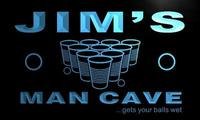X0153 Tm Jim S Man Cave Beer Pong Bar Custom Personalized Name Neon Sign Wholesale Dropshipping