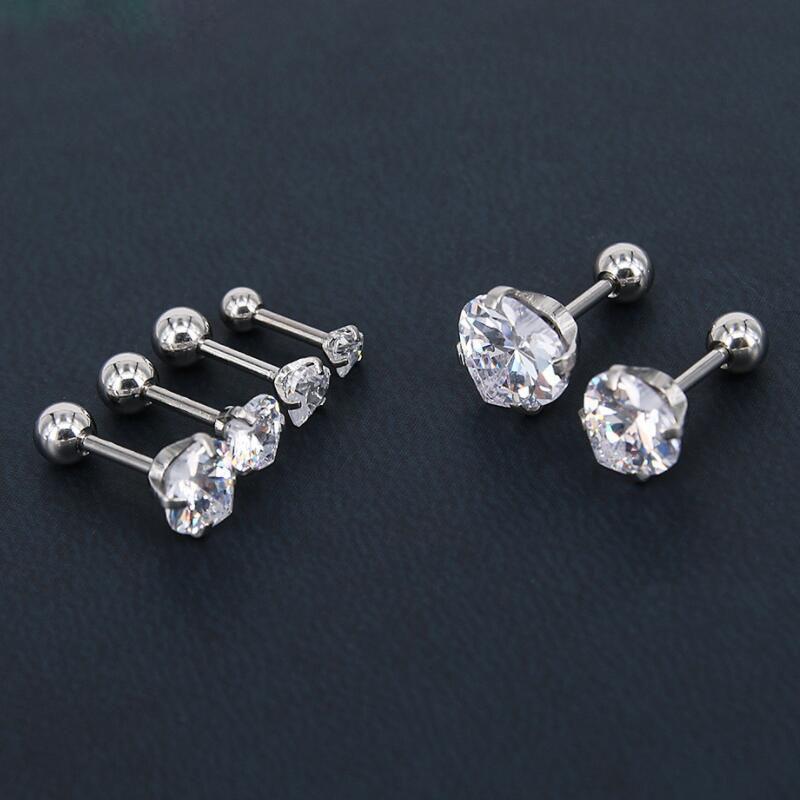 316L Stainless Steel Heart Zircon Tragus Earring Helix Barbell Ear Piercing Cartilage Ring Jewelry for Women Girl