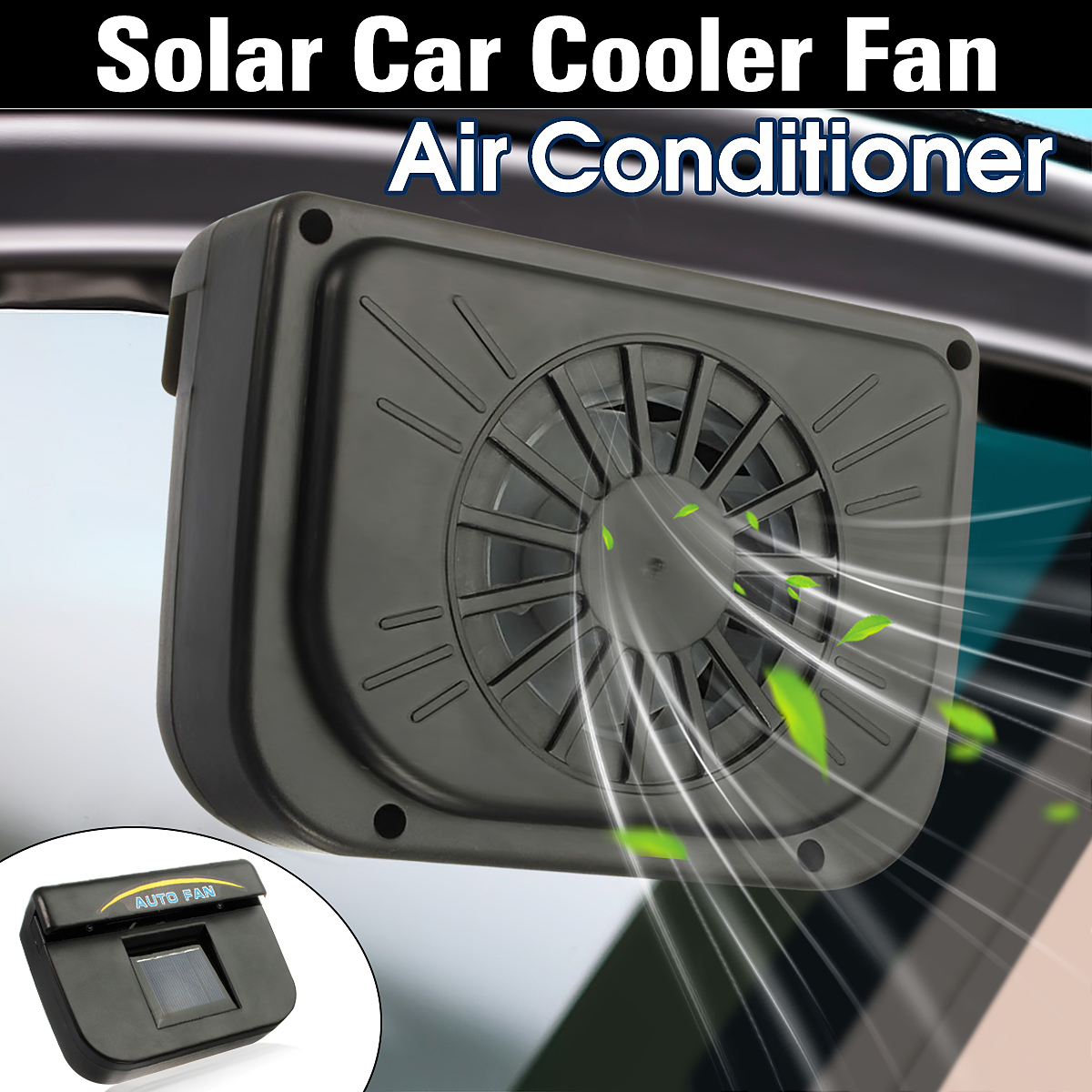 Solar Sun Power Car Window Air Vent Cool Fans Ventilation Fan Cooler System Radiator