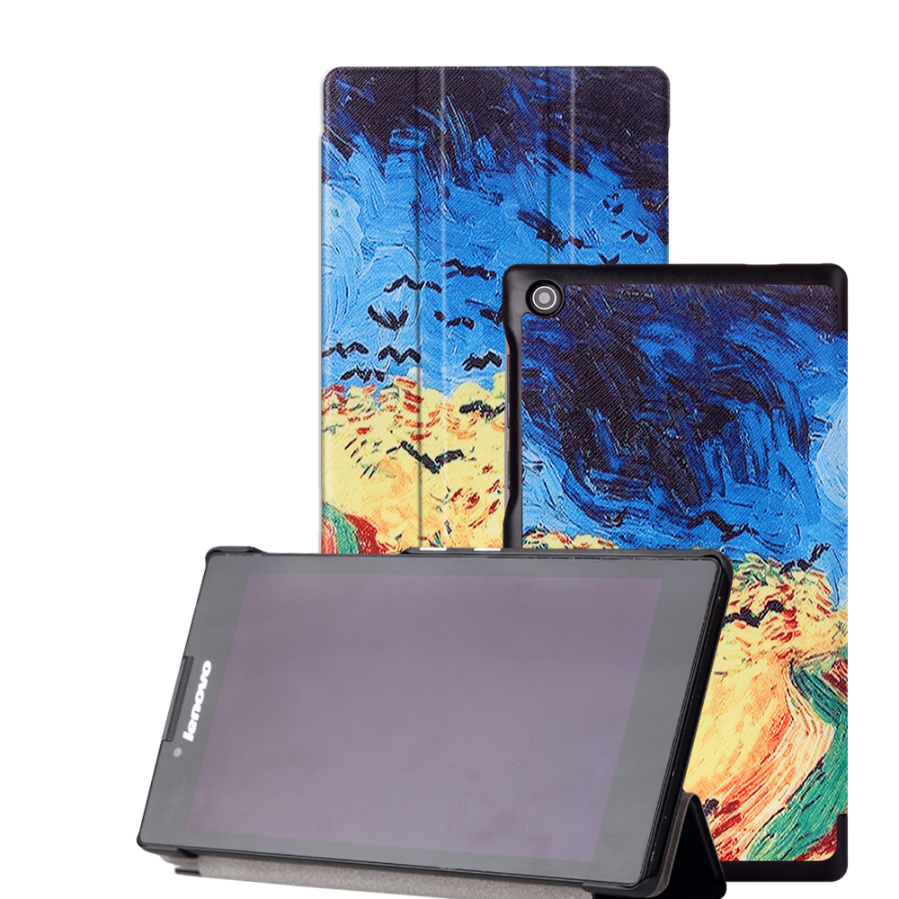 New arrival printed case For Lenovo tab 2 A7-30 2015 7''  Tablet PC  Protective Leather Stand flip Case Cover+screen  stylus pen new slim folio bracket for lenovo a7 20f standing tablet cover for lenovo tab 2 a7 20 flip protective tablet case