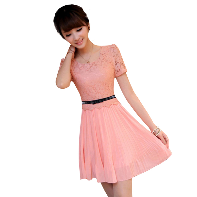 2016 HOT SALE OL CHIFFON LACE STITCHING FAKE BOW PUFF WAIST BELT PLEATED DRESS LINED SIDE INVISIBLE ZIPPER GWF-6319Freeshipping