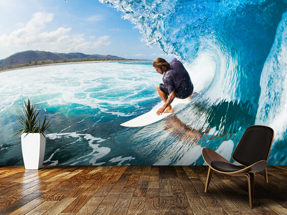 Custom 3d Mural Wallpapers Hd Landscape Mountains Lake: Custom Landscape Wallpaper,Surfing,3D Natural Photo Murals