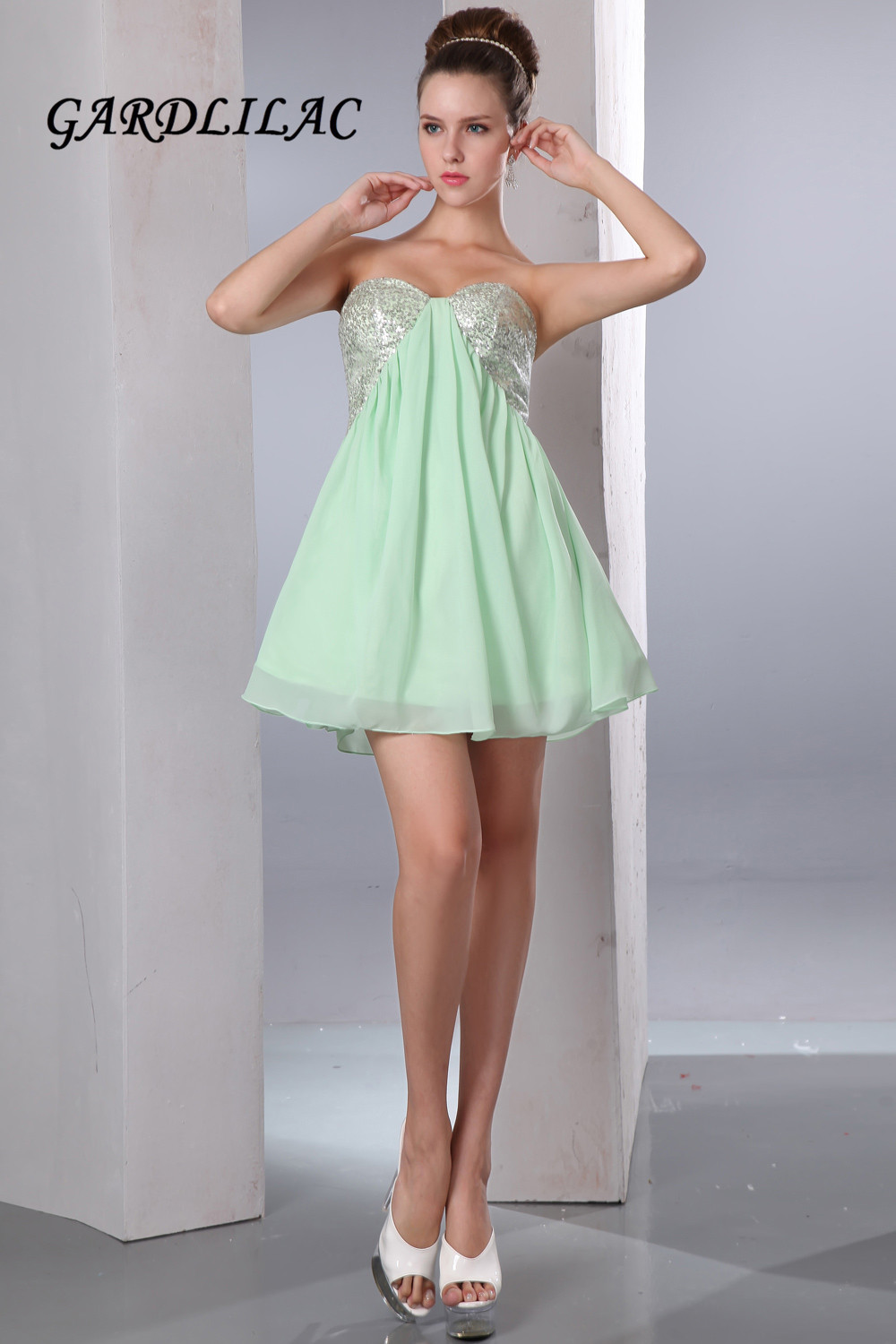 2017 Real Picture Green Short Cocktail Dress With Sequined Short Cocktail Dresses Vestidos De Coctel Abiti Da Cocktail Weddings & Events