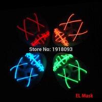 מכירות חמות סאונד פעיל 10 צבע אופציונלי אימה ליל כל הקדושים LED מסכת מסכת EL WIRE tube חבל אור עד צעצועי כמו חג תאורה