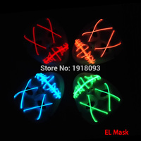 Hot Sales White 10 COLOR Choice Sound Active Horror Halloween LED Mask EL Wire Rope Tube
