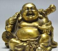 6614Chinese Buddhism Bronze Brass Happy Laugh Maitreya Buddha Yuanbao Money Statue
