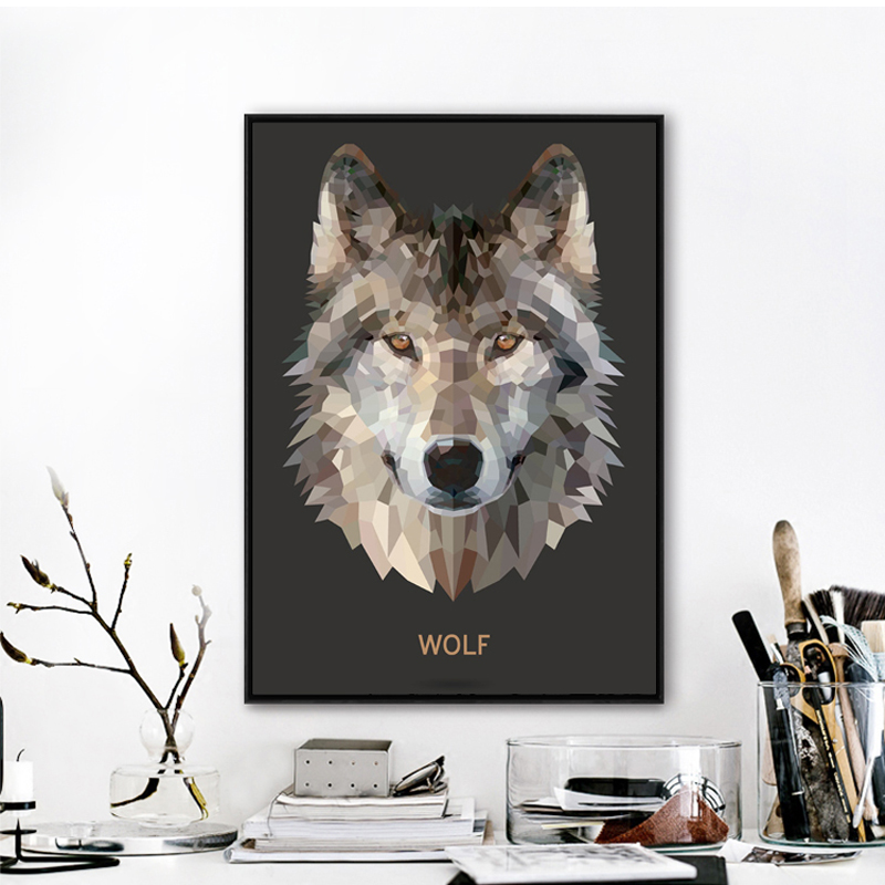 Geometric Wolf Canvas Art Print Wall Pictures , Abstract Polygon ...