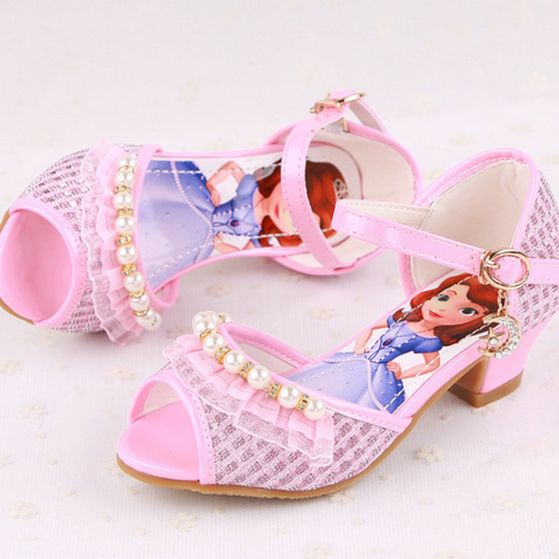 cbc52fe63557 New style baby sandals girl shoes Sofia Princess Sandals children shoes  High Heels kids girl party shoes