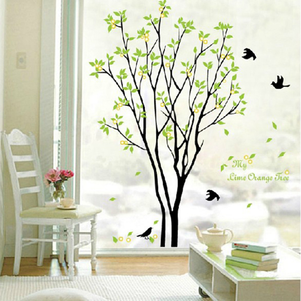 Decals Decor Art Removable Huge Birds Sing On The Tree
