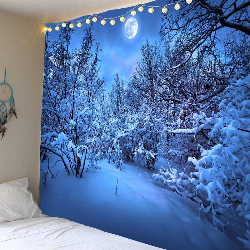 雪の夜下ムーン装飾サイケデリックタペストリー壁掛けインド曼荼羅タペストリーヒッピータペストリー自由奔放に生きる壁布