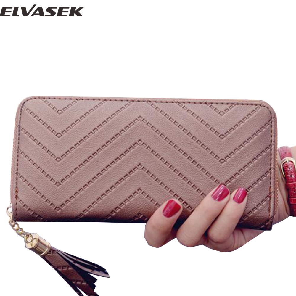 Elvasek 2017 women wallets long style leather wallet women purse ID holders ladies coin keeper large capacity tassel wallet