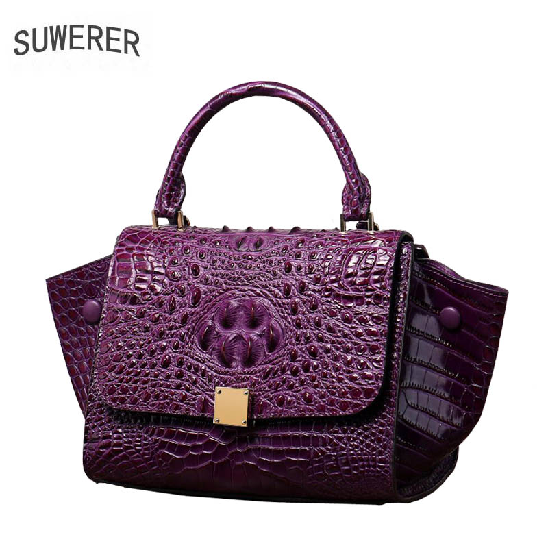 SUWERER Genuine Leather women bags for women 2018 new luxury handbags women bags designer clutch bag Shoulder