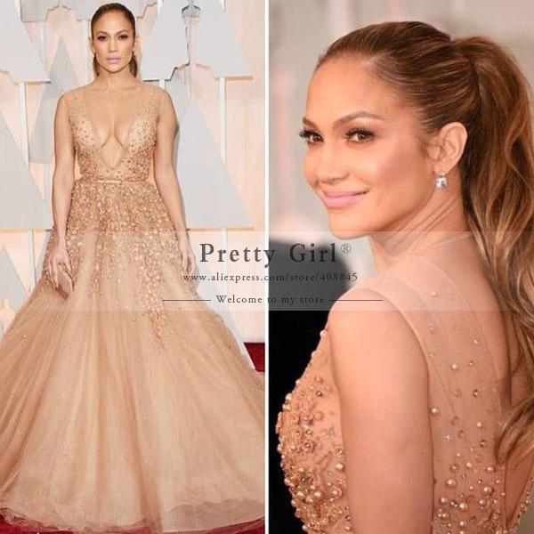 vestido 87th Oscar Jennifer Lopez Celebrity Dresses 2016 Sexy Deep V-Neck  Appliques Beading Long 561127e0635b