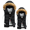 Free shipping 2016winter new fashion casual cotton slim hood fur collar lovers colete masculino sleeveless jacket down vest men