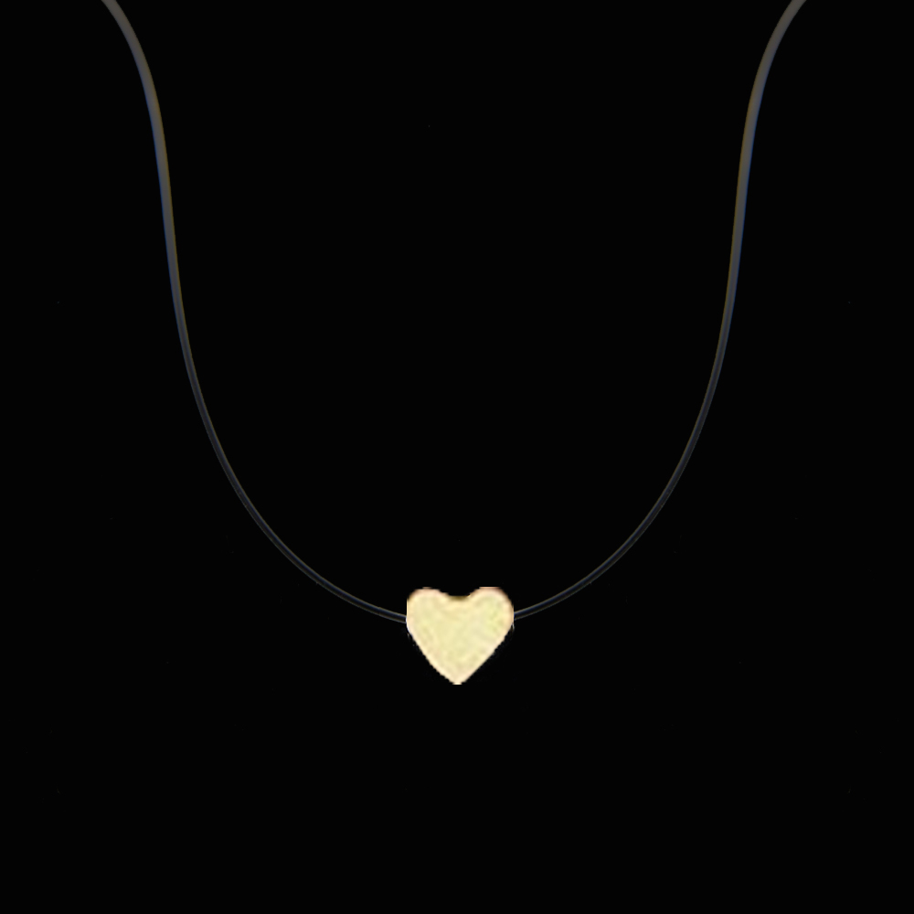 New Fashion Women Love Heart Pendant Necklace Silver Color Transparent Fishing Line Summer Neck Jewelry Wholesale