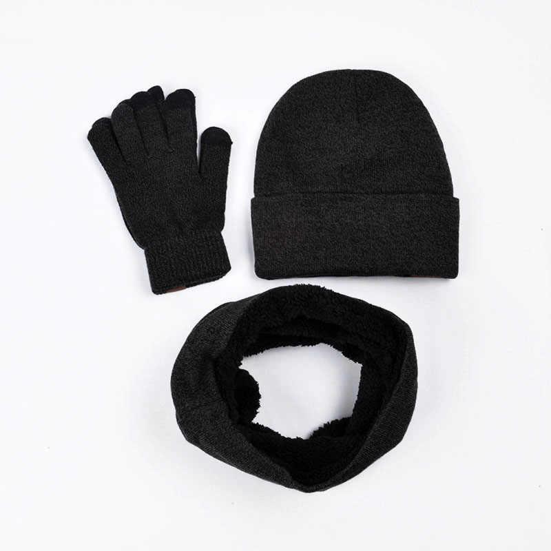 ac50cf474dd09 ... 3pcs set Winter Hats Gloves Scarf Set Thick Warm Beanies Hats Touch Screen  Gloves Collar ...