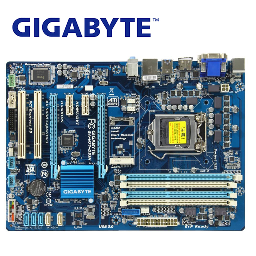 LGA 1155 For Intel H77 Gigabyte GA-H77-DS3H Motherboard DDR3 USB3.0 32GB SATA III H77 DS3H Desktop Mainboard H77-DS3H Used asus p5g41t m lx3 plus motherboard lga 775 ddr3 8gb for intel g41 p5g41t m lx3 plus desktop mainboard systemboard sata ii used
