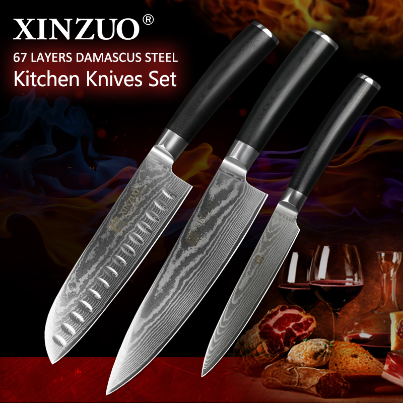XINZUO 3 pcs Kitchen knives sets Damascus stainless steel kitchen knife chef santoku knife kitchen tool cooking knife g10 handle