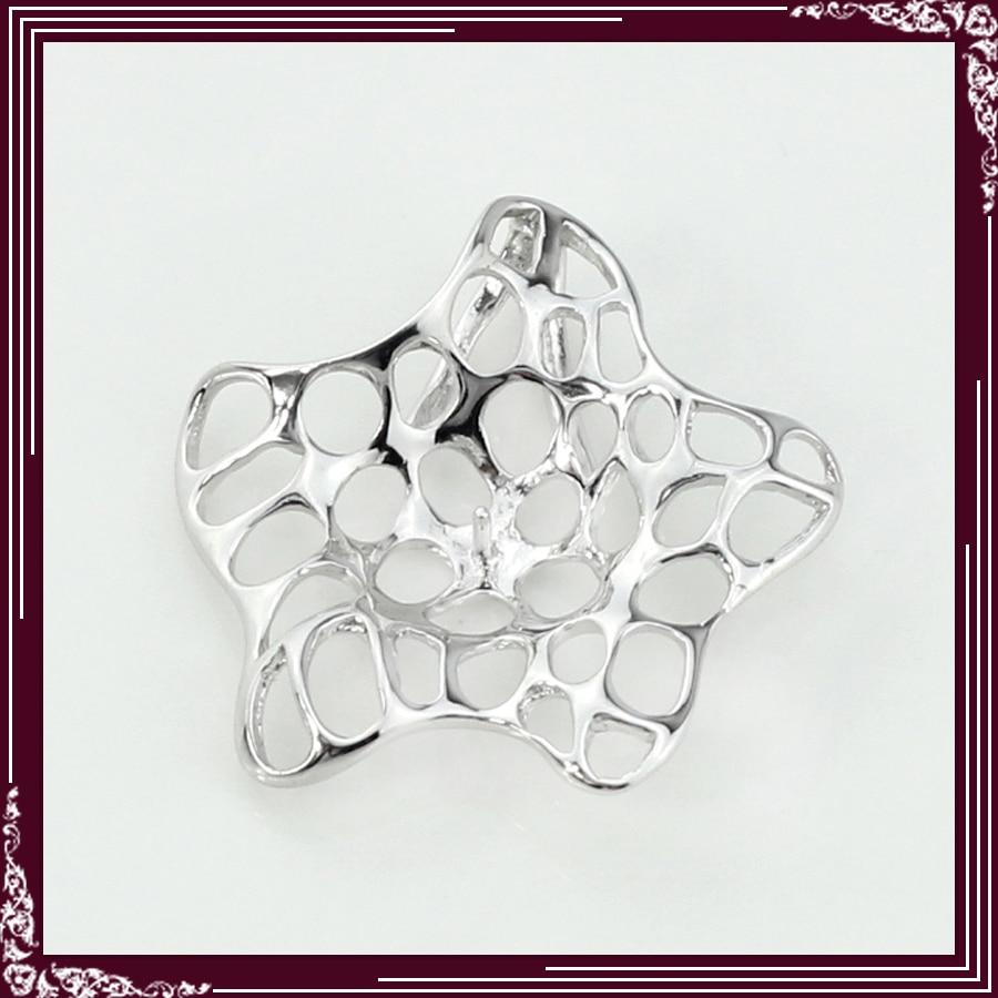 FREE SHIPPING, Hollowed Starfish Shape 925 Sterling Silver Jewelry Pendant Accessories 5pcs starfish