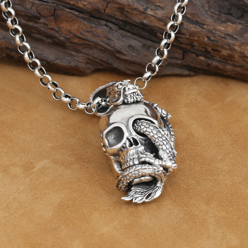 Handcrafted 925 Silver Skull Dragon Pendant vintage sterling silver Dragon pendant man PUNK pendant