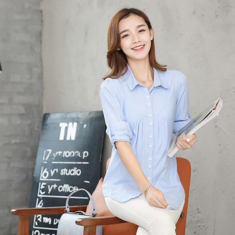 Manga larga de las mujeres Tops Otoño 2017 más ropa de tamaño moda coreana  suelta casual turn-Down collar camisa alta calidad 75bfe2b60a881