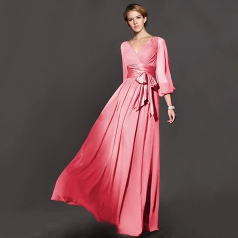 top rated plus size women autumn winter long sleeve maxi With long sleeve maxi dress for wedding
