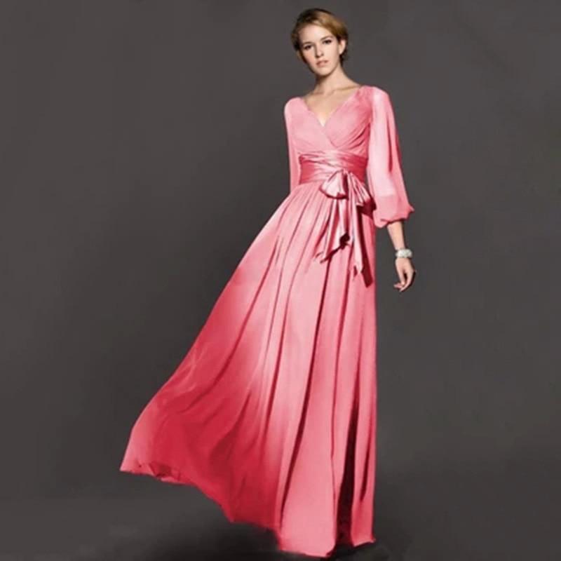 d3c6190414 US $35.99 |Top rated Plus Size Women Autumn/Winter Long Sleeve Maxi Dress  Vintage Party/Wedding Bridesmaid Elegant Dresses Vestidos D33018-in Dresses  ...