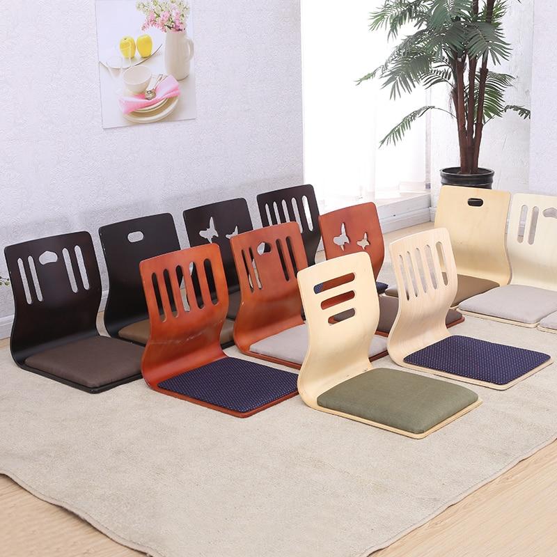 (4pcs/lot )Japanese Legless Chair White Finish Fabric Cushion Seat  Floor Seating FurnitureLiving Room Tatami Zaisu Chair Design