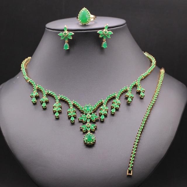 Women's Gold Plated Green Zircon Chain Necklace Earrings Ring Bracelet Wedding Jewelry Sets For Women