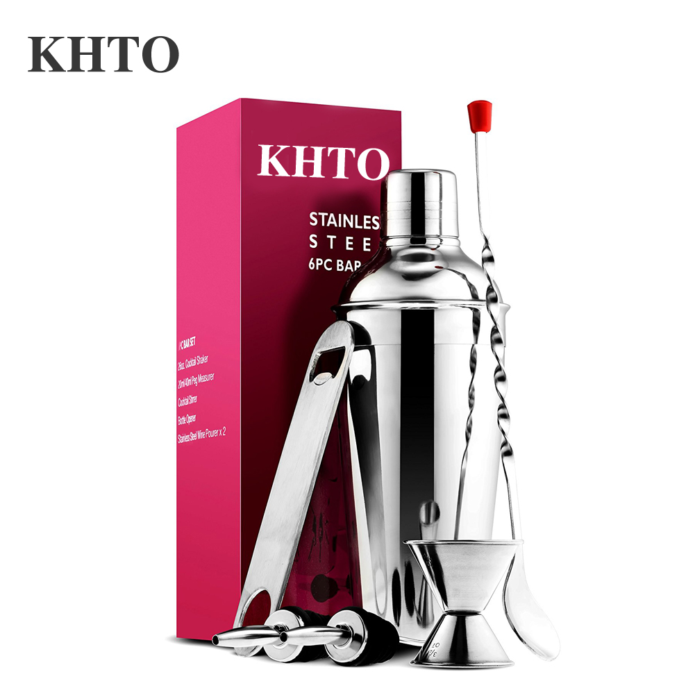 Khto expert cocktail shaker home bar tool set stainless for Cocktail 8 4