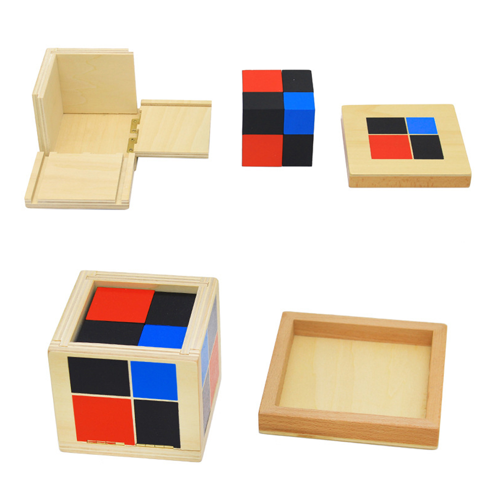 Wooden Montessori Binomial Building Block Cubes Educational Geometric Color Cognition Matching Blocks Baby Developmental Toy kid s soft montessori wooden mini number house number shape matching blocks toy set early educational gift for kids