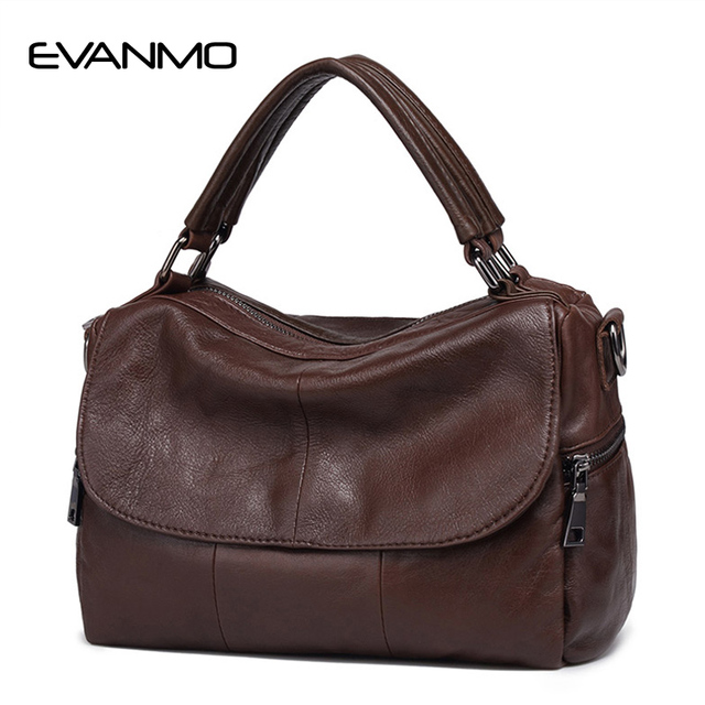 03a16421496357 2018 echt Hohe Qualität Weiche Echtes Leder Frauen Handtasche Casual Frauen  Boston Schulter Tasche Marke Zipper & haspe Crossbody Handtasche