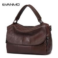 2017 Real High Quality Soft Genuine Leather Women Handbag Casual Women Boston Shoulder Bag Brand Zipper