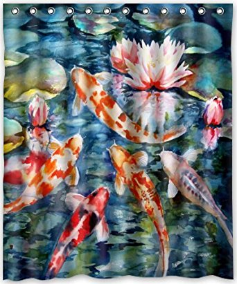 CHARMHOME Japanese Koi Fish Shower Curtain New Waterproof Polyester Fabric Bath Rings Included In Curtains From Home Garden On