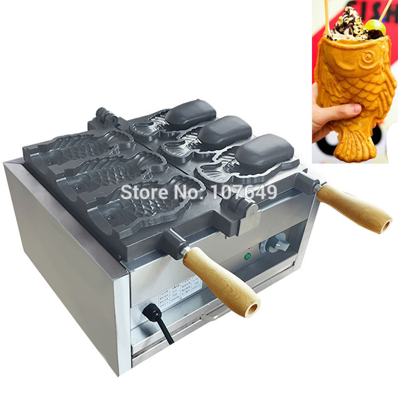 Free Shipping 3pcs Fish Commercial Use Non-stick 110v 220v Electric Ice Cream Taiyaki Maker Iron Machine Baker free shipping 110v 220v commercial use ice cream taiyaki machine fish cone waffle maker