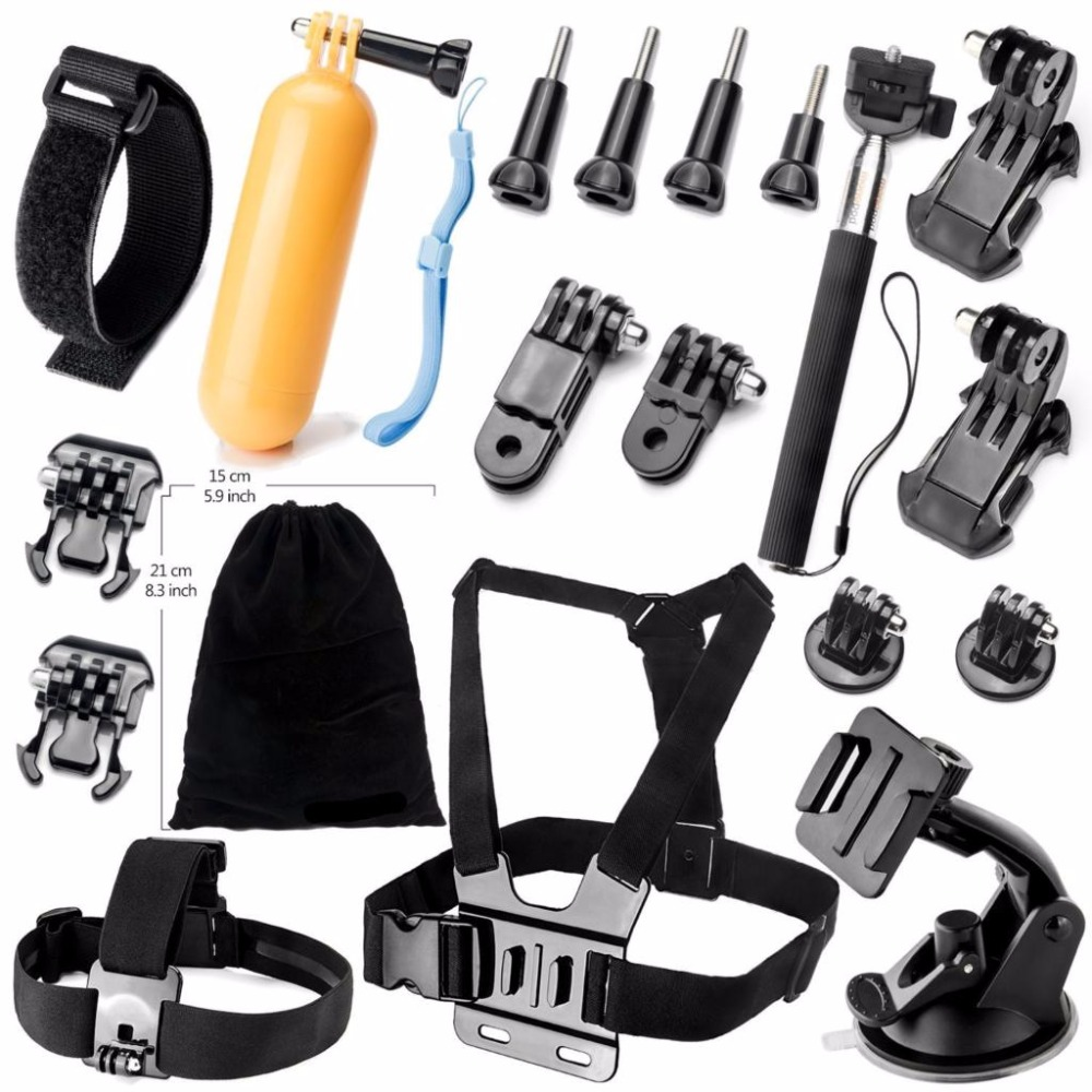 Go pro Accessories Set Helmet Harness Chest Belt Head Mount Strap Monopod For action camera Gopro Hero 4 3+ 2 1 xiaomi yi