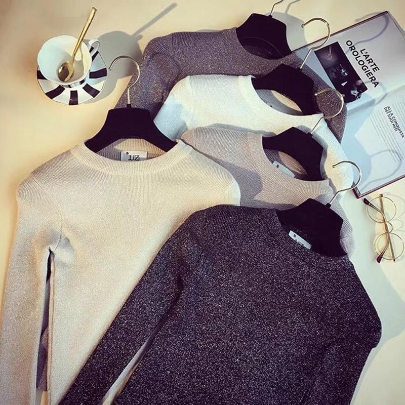 Womens Sweaters 2018 Winter Shiny Lurex Autumn Winter Sweater Women Long Sleeve Pullover Women Tops Basic