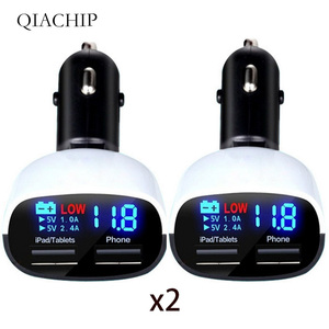 NEW Dual USB Car Charger 3.4A 2-port usb Phone charger Power Adapter for Smart Phone Led display voltage usb accessory