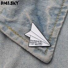 Pins Plane Office DMLSKY Dunder Mifflin Jewelry Collar-Badge Metal Brooch Lapel-Pin The
