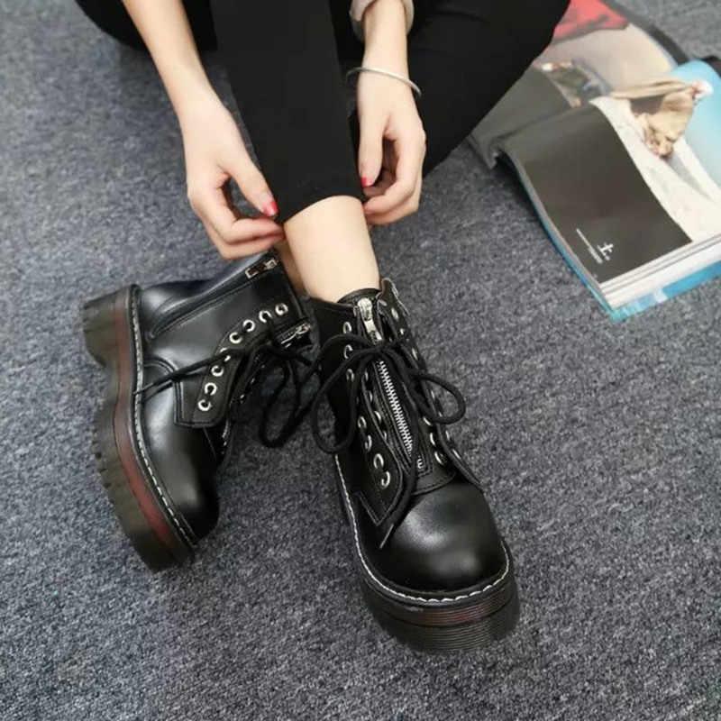 COOTELILI Fashion Zipper Flache Schuhe Frau High Heel Plattform PU Leder Stiefel Lace up Frauen Schuhe Stiefeletten Mädchen 35 -40
