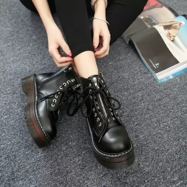 COOTELILI Fashion Zipper Flat Shoes Woman High Heel Platform PU Leather Boots Lace up Cow Muscle Shoes Martin Boots Girls 35-40
