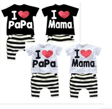 2016 New Summer Children Baby Clothing Sets Kids I love papa mama Clothes Suit Boys Girls T shirt Striped Pants Pajamas Sets f12