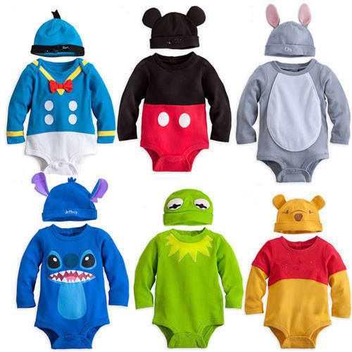 Newborn Boy Girls Full Sleeved Triangle Jumpsuits with Hat Two Pieces Bebe Roupas Cartoon Cotton Soft Baby   Rompers   6 Colors