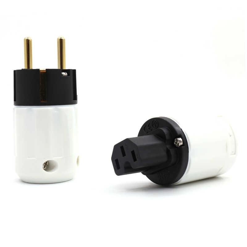1 par de enchufes de alimentación de altavoz CEI chapado en oro UE conector de Audio HIFI enchufe de cable de alimentación de CA para altavoz