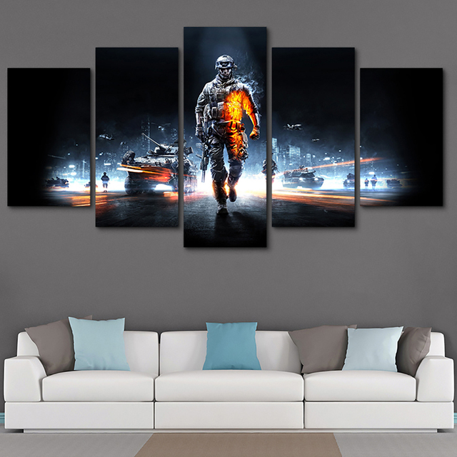 Pictures Framed HD Printed Modern Decor Living Room Wall Art 5 Panel Battlefield Male Warrior Game Home Painting Modular Canvas 1