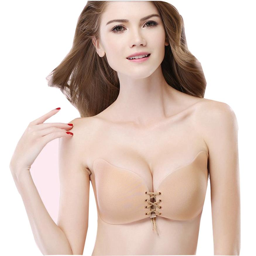 2017 New Arrival Women Sexy Strapless Instant Breast Lift Invisible Silicone Push Up Bra Unpadded Nylon Nipple Cover #63