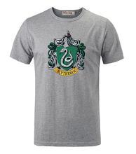 Harry Potter Hogwarts Slytherin Schule Gedruckt Kurzen Ärmeln T-Shirt männer Jungen Graphic Tee Tops T shirt Grau Weiß